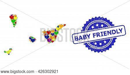 Blue Rosette Grunge Stamp With Baby Friendly Title. Vector Mosaic Lgbt Map Of Santa Cruz De Tenerife