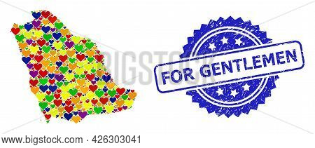 Blue Rosette Textured Seal With For Gentlemen Title. Vector Mosaic Lgbt Map Of Saudi Arabia With Lov