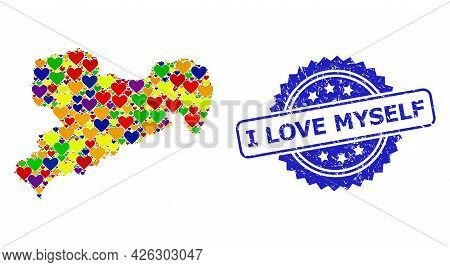 Blue Rosette Textured Seal With I Love Myself Phrase. Vector Mosaic Lgbt Map Of Saxony State With Lo