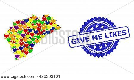 Blue Rosette Scratched Watermark With Give Me Likes Phrase. Vector Mosaic Lgbt Map Of Segovia Provin