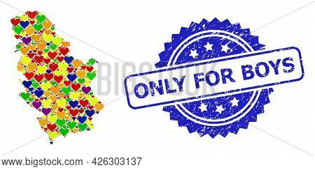 Blue Rosette Distress Stamp With Only For Boys Message. Vector Mosaic Lgbt Map Of Serbia From Love H