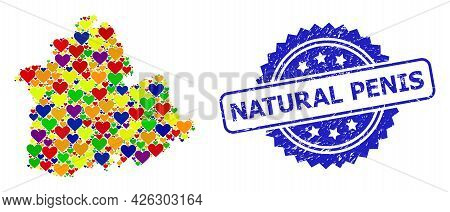 Blue Rosette Textured Stamp With Natural Penis Message. Vector Mosaic Lgbt Map Of Sevilla Province W