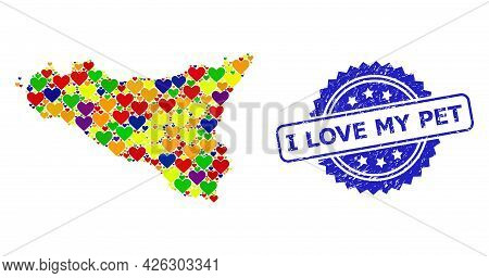 Blue Rosette Scratched Seal With I Love My Pet Text. Vector Mosaic Lgbt Map Of Sicilia Island With L