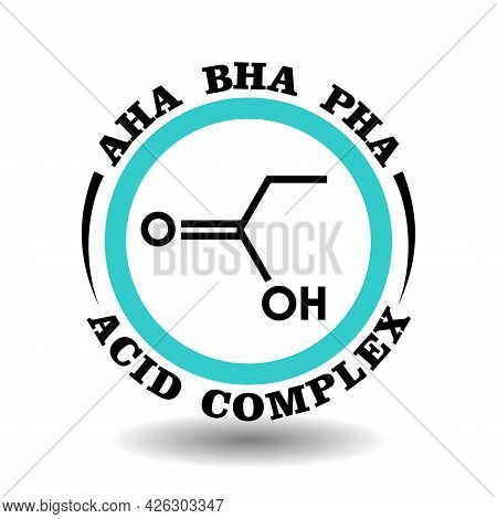 Circle Vector Icon Aha, Bha, Pha Complex Acid For Package Product Signs Contain Alpha, Beta, Poly Hy