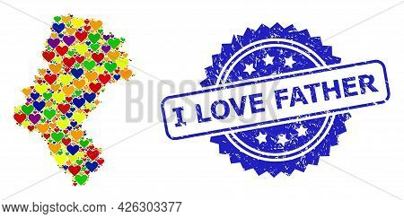 Blue Rosette Textured Seal Stamp With I Love Father Phrase. Vector Mosaic Lgbt Map Of Silesia Provin