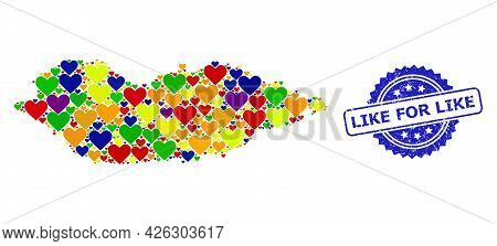 Blue Rosette Textured Seal Imprint With Like For Like Caption. Vector Mosaic Lgbt Map Of Socotra Isl