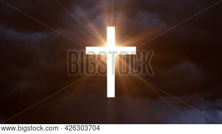 Glowing Christian Cross Symbol On Cloudy Sky Backdrop - Cgi Abstract 3d Rendering