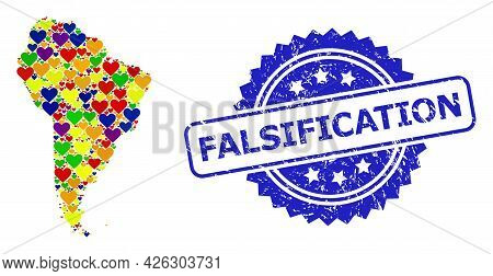 Blue Rosette Rubber Seal With Falsification Phrase. Vector Mosaic Lgbt Map Of South America With Lov