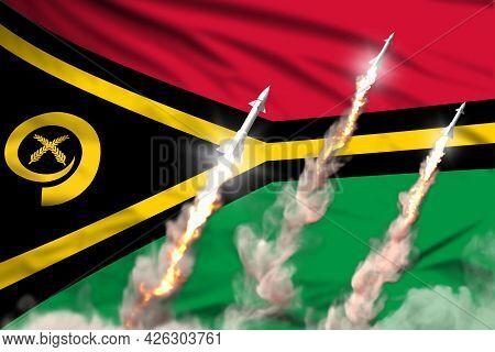 Vanuatu Supersonic Warhead Launch - Modern Strategic Nuclear Rocket Weapons Concept On Flag Fabric B