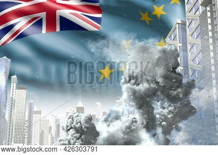 Large Smoke Pillar In The Modern City - Concept Of Industrial Catastrophe Or Terrorist Act On Tuvalu