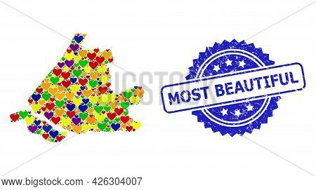 Blue Rosette Scratched Seal Stamp With Most Beautiful Text. Vector Mosaic Lgbt Map Of South Holland