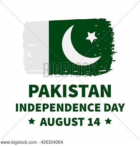 Pakistan Independence Day Lettering With Flag. National Holiday Celebrated On August 14. Vector Temp