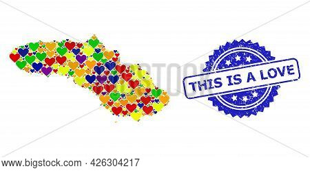 Blue Rosette Rubber Seal Stamp With This Is A Love Text. Vector Mosaic Lgbt Map Of Sumba Island With