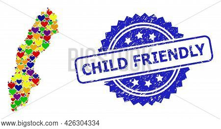 Blue Rosette Textured Watermark With Child Friendly Message. Vector Mosaic Lgbt Map Of Sweden With L