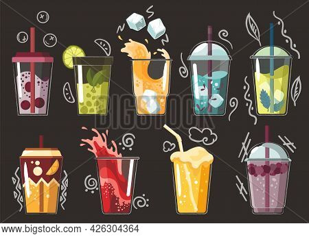Collection Of Drawn Drink. Various Tasty Sodas. Summer Fruit Smoothie Drink With Fruit Flavors. Alco