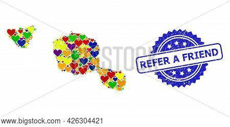 Blue Rosette Scratched Seal With Refer A Friend Caption. Vector Mosaic Lgbt Map Of Tahiti And Moorea