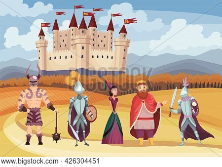 Medieval King And Queen, Knight In Full Armor, Laydy And Warrior On White Background. Cartoon Middle