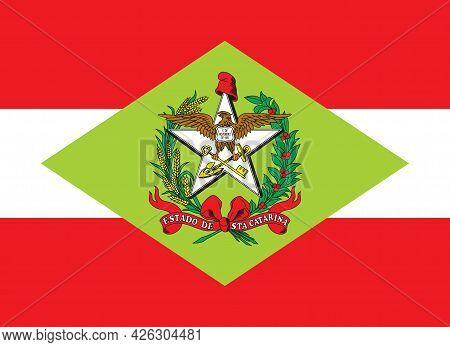 Official Large Flat Flag Of Santa Catarina State Horizontal