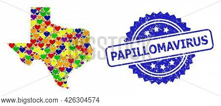 Blue Rosette Rubber Seal With Papillomavirus Caption. Vector Mosaic Lgbt Map Of Texas State With Lov