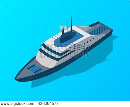 Isometric Cruise Ship. Passenger Transportation By Water. Vector Isometric Icon Or Infographic Eleme