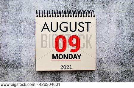 Save The Date Written On A Calendar - August 09