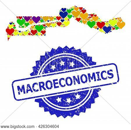 Blue Rosette Grunge Seal With Macroeconomics Caption. Vector Mosaic Lgbt Map Of The Gambia With Love