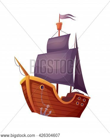 Pirate Wooden Ship Isolated On White Background. Advertising Nautical Travel On Antique Sailboat. So