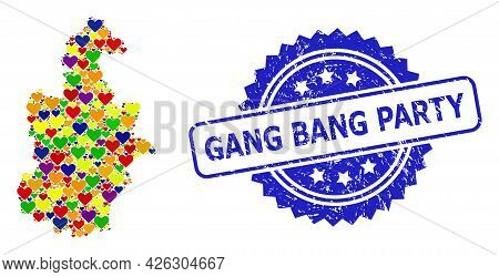 Blue Rosette Textured Seal Stamp With Gang Bang Party Caption. Vector Mosaic Lgbt Map Of Tianjin Mun