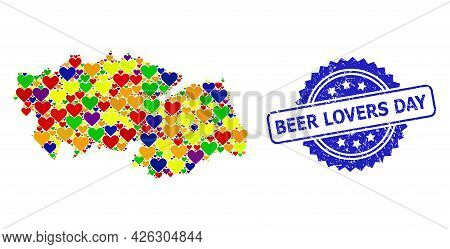 Blue Rosette Textured Seal Stamp With Beer Lovers Day Text. Vector Mosaic Lgbt Map Of Toledo Provinc