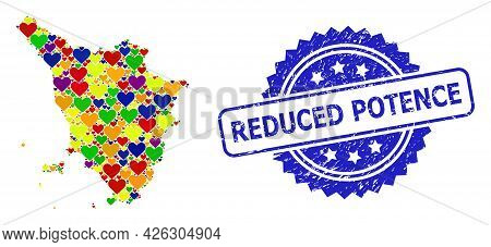 Blue Rosette Textured Watermark With Reduced Potence Message. Vector Mosaic Lgbt Map Of Tuscany Regi