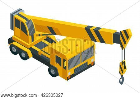 Construction Machinery Isometric. Heavy Transportation. Icon Representing Heavy Road Industry. Const