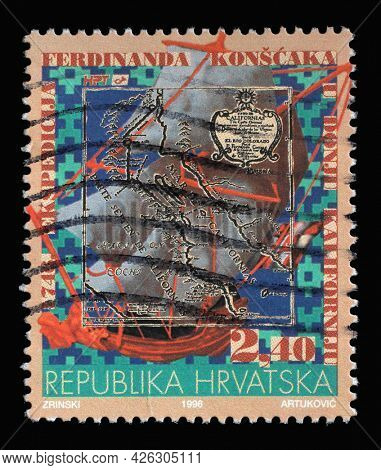 ZAGREB, CROATIA - AUGUST 29, 2014: A stamp printed in Croatia shows 250 years since the first expedition of the Jesuit father Ferdinand Konscak to northern parts of Lower California, circa 1996