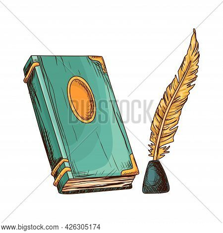 Old Closed Book And Feather In Inkwell. Education And Wisdom Concept. Vector Icon For Education And