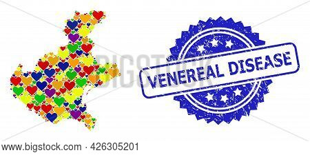 Blue Rosette Scratched Seal Stamp With Venereal Disease Text. Vector Mosaic Lgbt Map Of Veneto Regio
