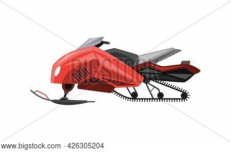 Winter Ride On Snowmobile. Motor Sled, Vehicle For Extreme Travelling On Snow And Ice, Winter Recrea