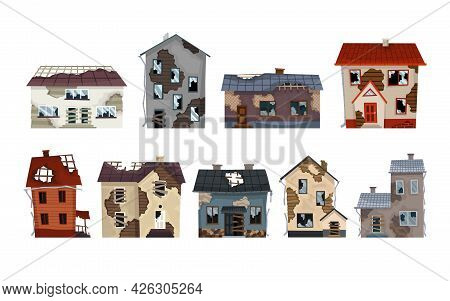 Old Weathered Houses And Dwellings Collection. Abandoned Home In Bad Condition. Bad Old Trouble Buil