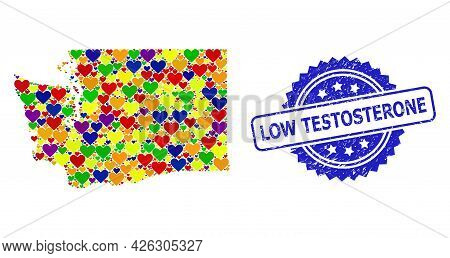 Blue Rosette Distress Watermark With Low Testosterone Phrase. Vector Mosaic Lgbt Map Of Washington S