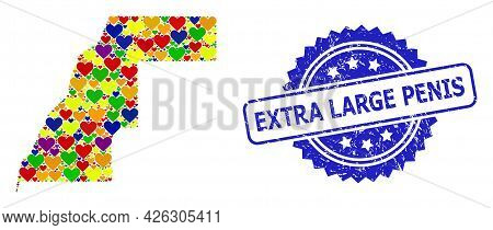 Blue Rosette Grunge Seal Stamp With Extra Large Penis Caption. Vector Mosaic Lgbt Map Of Western Sah