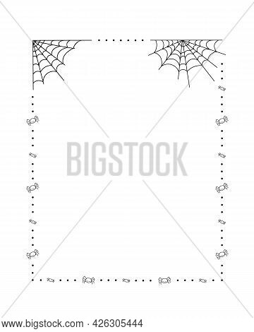 Spider Web, Polka Dots And Little Spiders Frame Simple Hand Drawn Vector Outline Illustration Of Doo