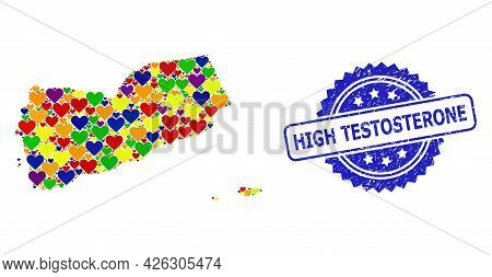 Blue Rosette Grunge Stamp With High Testosterone Text. Vector Mosaic Lgbt Map Of Yemen From Love Hea