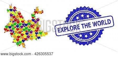Blue Rosette Distress Seal Imprint With Explore The World Caption. Vector Mosaic Lgbt Map Of Yunnan