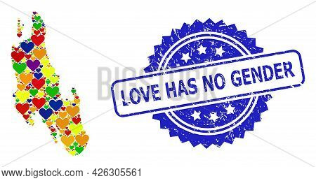 Blue Rosette Rubber Seal Stamp With Love Has No Gender Caption. Vector Mosaic Lgbt Map Of Zanzibar I