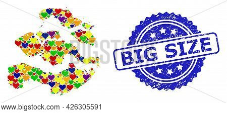 Blue Rosette Rubber Stamp With Big Size Title. Vector Mosaic Lgbt Map Of Zeeland Province Of Love He