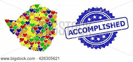 Blue Rosette Textured Seal With Accomplished Caption. Vector Mosaic Lgbt Map Of Zimbabwe With Hearts