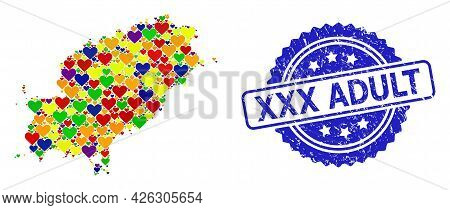 Blue Rosette Distress Stamp With Xxx Adult Text. Vector Mosaic Lgbt Map Of Ibiza Island Of Love Hear