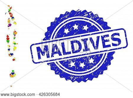Blue Rosette Distress Seal Imprint With Maldives Phrase. Vector Mosaic Lgbt Map Of Maldives From Hea
