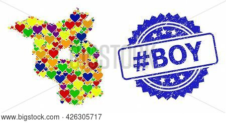 Blue Rosette Rubber Stamp With Hashtag Boy Title. Vector Mosaic Lgbt Map Of Brandenburg State With L