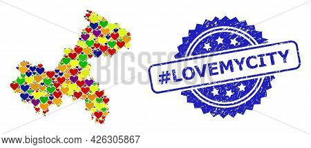 Blue Rosette Rubber Watermark With Hashtag Lovemycity Message. Vector Mosaic Lgbt Map Of Chongqing M