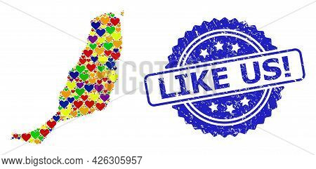Blue Rosette Grunge Seal Imprint With Like Us Exclamation Phrase. Vector Mosaic Lgbt Map Of Fuerteve
