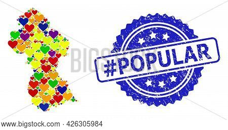 Blue Rosette Grunge Seal Imprint With Hashtag Popular Title. Vector Mosaic Lgbt Map Of Guyana With L